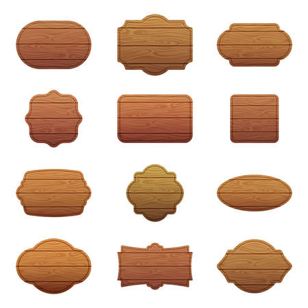 Illustration for Illustration set of different shapes with wooden texture. Empty vector banners with place for your text - Royalty Free Image