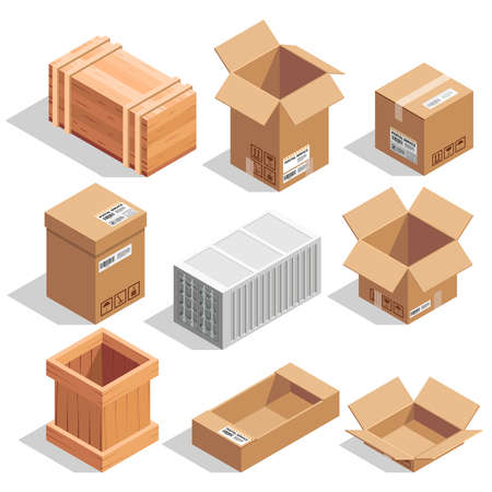 Illustration pour Different big delivery packages. Warehouse or shipping closed and opening boxes. Isometric vector illustrations - image libre de droit