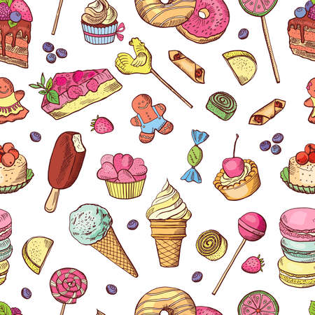 Illustration pour Vector seamless pattern of candies, ice cream, cake and other different sweets. Hand drawn illustrations - image libre de droit