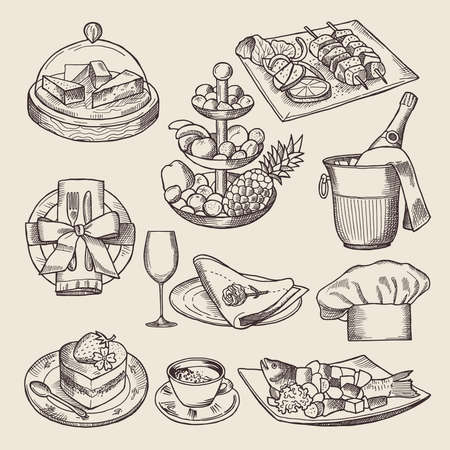 Illustration pour Different pictures for restaurant menu in retro style. Vector hand drawn illustrations - image libre de droit