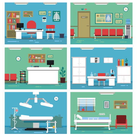 Illustration pour Illustrations of empty medical offices. Different rooms in hospital. Vector pictures set - image libre de droit