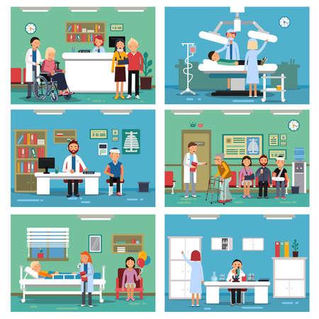 Illustration pour Medical personnel at work. Nurse doctor and patients in hospital interiors. Vector illustration - image libre de droit