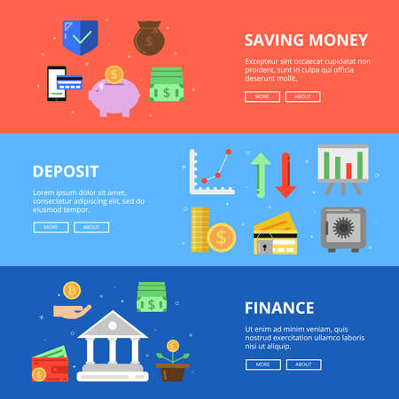 Illustration for Horizontal banners set. Save your money. Vector concept pictures with different symbols of business and money - Royalty Free Image