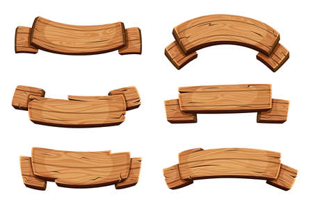 Illustration for Cartoon brown wooden plate and ribbons. Vector set isolate on white background. Wooden ribbons collection, illustration of wood board - Royalty Free Image