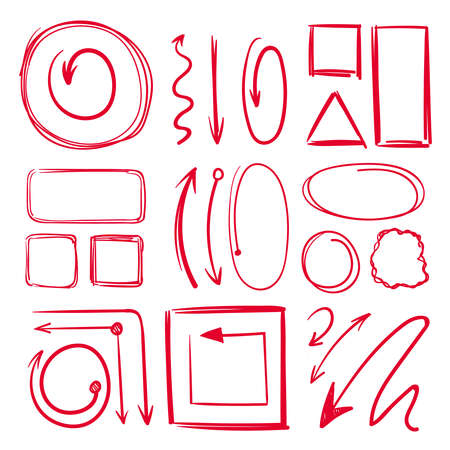 Illustration for Marker, underlines and different doodle frames with arrows. Vector hand drawn collection marker line sketch drawing illustration - Royalty Free Image