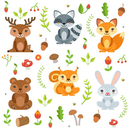 Illustration pour Funny forest animals and floral elements isolate on white background. Vector illustration cartoon animal deer and bear, raccoon and squirrel animals - image libre de droit