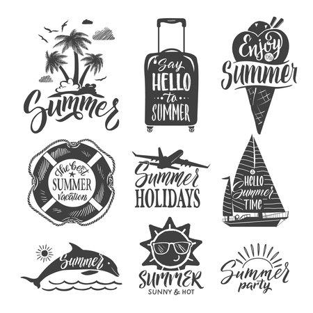 Illustration pour Text logo for summer party. Hand drown letters and design elements. Vector ilustrations set. Summer time vacation, travel summer party - image libre de droit