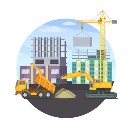 Illustration for Construction concept with unfinished modern building and different heavy machines. Vector illustration. Machinery truck bulldozer transport - Royalty Free Image