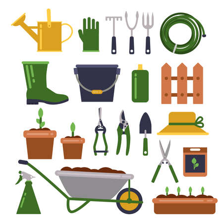 Illustration for Different work tools for gardening. Vector icons set in flat style. Garden equipment wheelbarrow and pruner for farming illustration - Royalty Free Image