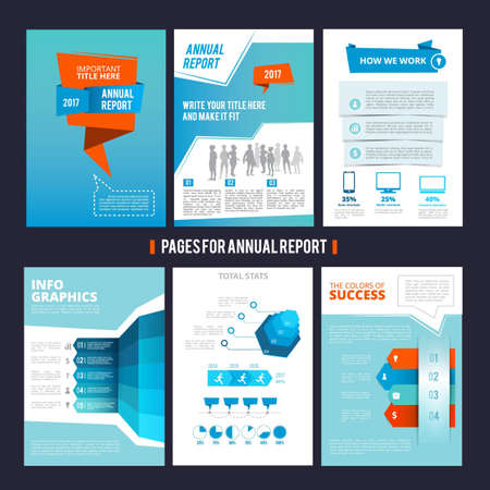 Illustration pour Design template of corporation annual report. Vector pages layout with place for your text. Illustration of page brochure template for corporate company - image libre de droit