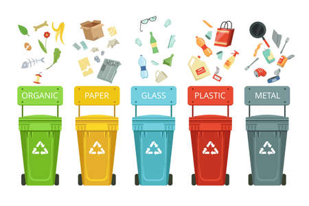 Illustration pour Plastic containers for garbage of different types. Vector illustrations in cartoon style. Container for garbage and waste, metal paper and glass - image libre de droit