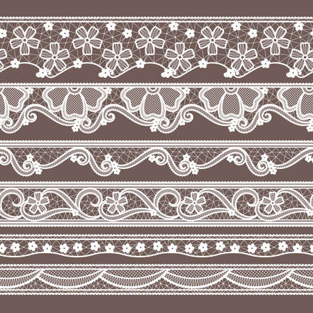 Illustration for Set of six lace ribbons horizontal seamless patterns. Vector needlework illustrations. Lace pattern decoration textile - Royalty Free Image