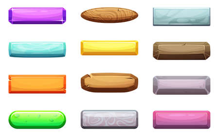 Illustration pour Vector cartoon set of ui buttons. Template for game design projects. Color button glossy collection illustration - image libre de droit