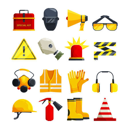Illustration pour Protection clothing for work and safety equipment. Protective equipment and safety mask glasses, vector illustration - image libre de droit
