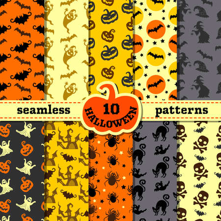 Illustration pour Halloween party decorations. Big seamless patterns set. Backgrounds with pumpkin and black cat, witch and bat - image libre de droit