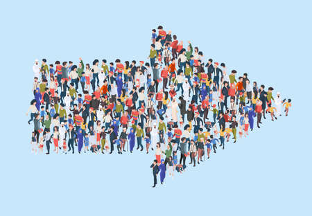 Illustration for Crowd arrow. Success people walking in direction arrow shapes large growing group of persons garish vector marketing concept isometric illustration. Crowd direction, people follow to arrow - Royalty Free Image