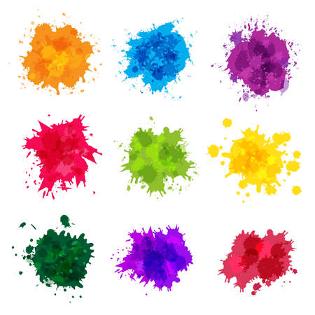 Illustration for Paint splashes. Colored backdrop abstract splatter graphics ink yellow blue green magenta recent vector collection splashes template. Splatter green and blue splash, stain artistic dirty illustration - Royalty Free Image