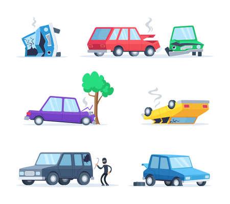 Illustration pour Vector pictures set of different accidents on the road. Big damage of cars. Illustration of vehicle accident, car crash - image libre de droit