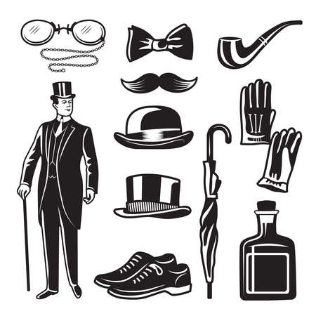 Illustration pour Victorian style monochrome illustrations for gentleman club. Vector pictures set. English gentleman clothing in suit, accessories umbrella and gloves - image libre de droit