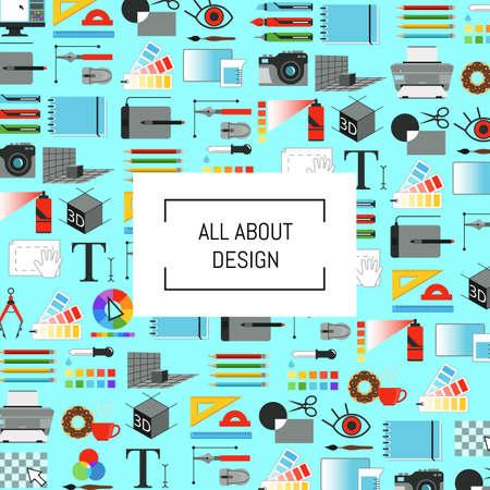 Illustration pour Vector digital art design icons background with place for text illustration - image libre de droit