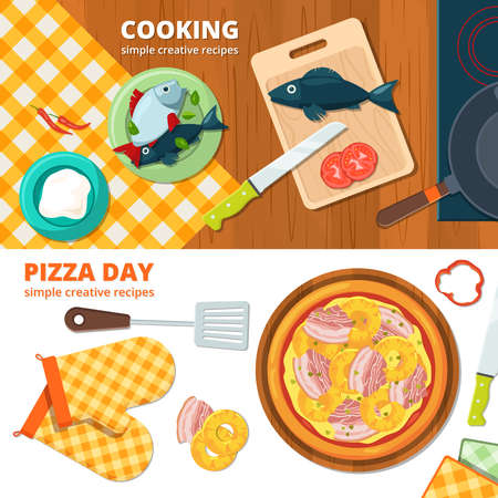 Illustration for Horizontal banners with different illustrations of kitchen tools. Cooking pizza banner, delicious food on kitchen tablecloth vector - Royalty Free Image