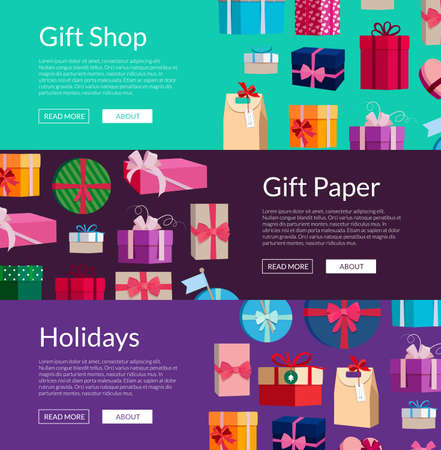 Illustration for Vector horizontal banners with a lot of gift boxes or packages illustration - Royalty Free Image