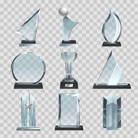 Illustration pour Glossy transparent trophies, awards and winner cups. Vector illustration. Achievement glass for winner championship, acrylic trophy sport - image libre de droit