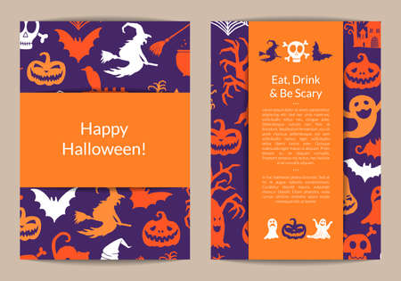 Illustration pour Vector halloween card templates with witches, pumpkins, ghosts, spiders silhouettes with place for text illustration - image libre de droit
