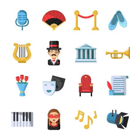 Illustration pour Culture symbols. Masks and others theatre icon set. Vector theater and culture, entertainment comedy performance illustration - image libre de droit