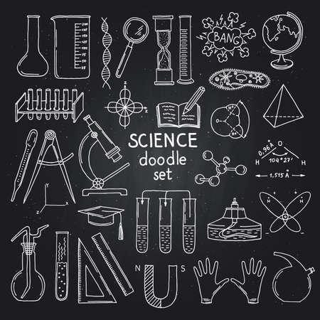 Illustration pour Vector sketched science or chemistry elements on black chalkboard. Illustration of science chemistry on blackboard - image libre de droit