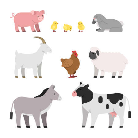 Illustration pour Vector illustrations of farm animals. Cow and chicken, pig and hen, rooster and sheep - image libre de droit