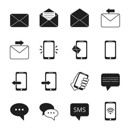 Ilustración de Business icon set of communication symbols. Phone, message bubbles, email signs. Message email and phone, telephone contact, speech bubble. Vector illustration - Imagen libre de derechos