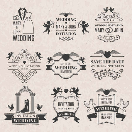 Illustration for Wedding labels set in victorian style. Monochrome pictures set for badges. Wedding invitation label, ornament classic badge, vector illustration - Royalty Free Image