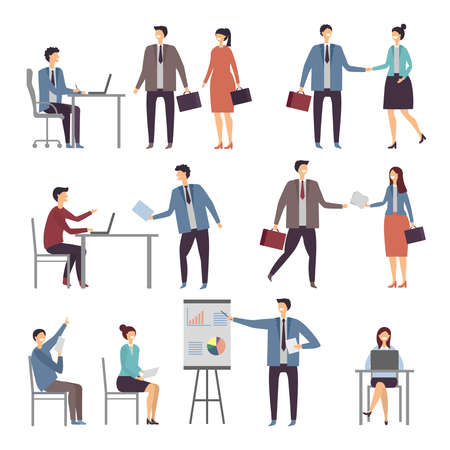 Illustration pour Various scene of active business people in office. Dialogues businessman and worker, person communication illustration - image libre de droit