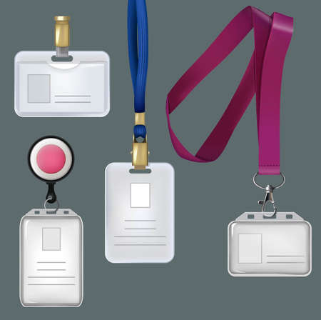 Illustration pour Illustrations of realistic templates of personal badges, security plastic cards. Vector card personal, plastic identity badge - image libre de droit