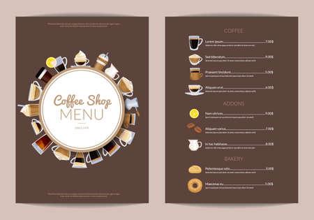 Illustration pour Vector coffee shop vertical menu template. Cafe menu wi drink cup espresso and cappuccino illustration - image libre de droit
