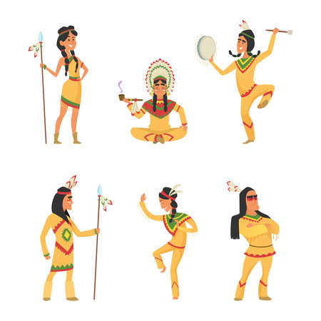 Illustration pour Native american indians. Cartoon characters set in vector style. Illustration of indian traditional with feather and ethnic costume - image libre de droit
