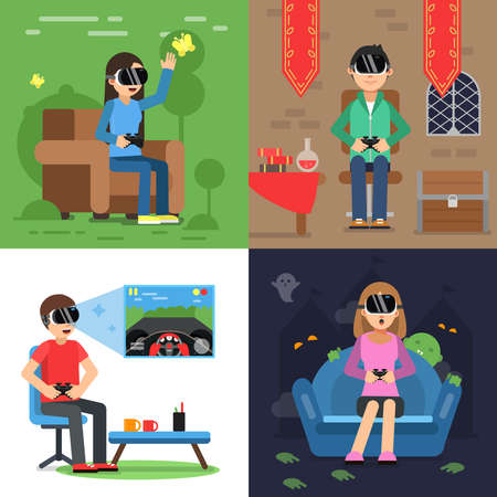 Illustration pour Different concept pictures of funny people in helmet of vr playing in games. Vector virtual reality device headset, helmet for game vr illustration - image libre de droit