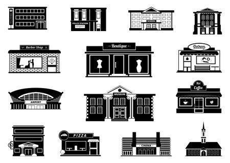 Photo pour Shops, markets and others municipal buildings. Monochrome urban vector illustrations. Building shop and market, store and bakery - image libre de droit