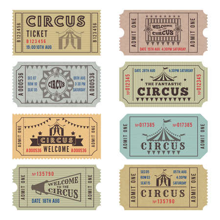 Illustration for Design template of circus tickets. Circus ticket vintage collection. Vector illustration - Royalty Free Image