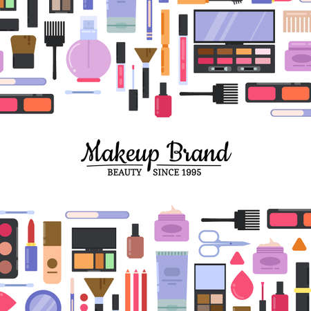 Illustration pour Vector flat style makeup and skincare background with place for text illustration - image libre de droit