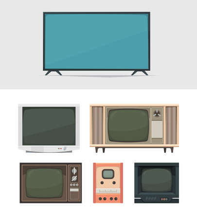 Illustration pour Tv set. Retro and modern digital tv for news movies and broadcasts old filming gadgets garish vector illustrations collection - image libre de droit