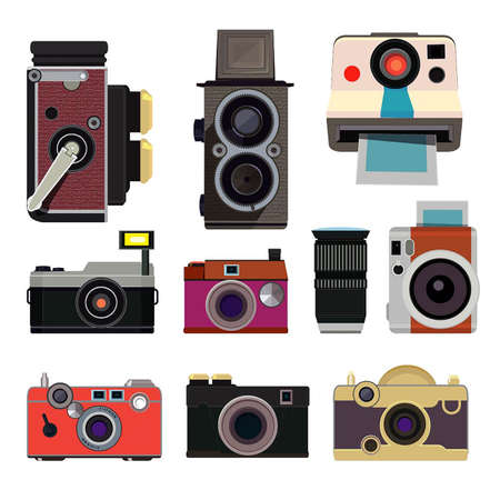 Illustration for Retro photo cameras. Illustrations in cartoon style isolate - Royalty Free Image