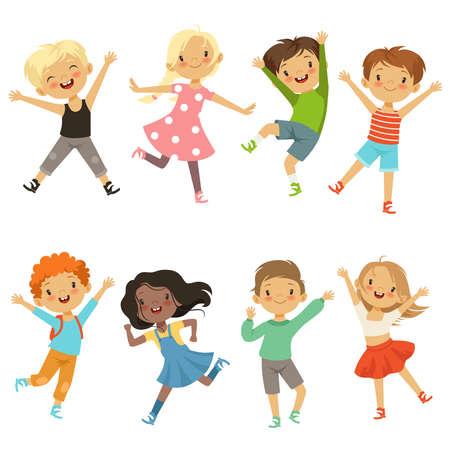 Illustration pour Active kids in different action poses. Vector illustrations - image libre de droit