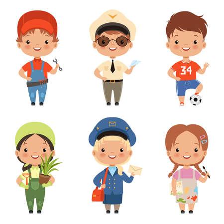 Ilustración de Funny cartoon children characters of various professions - Imagen libre de derechos