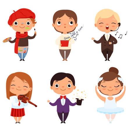 Illustration pour Cartoon illustrations of various creative kids. Different professions - image libre de droit