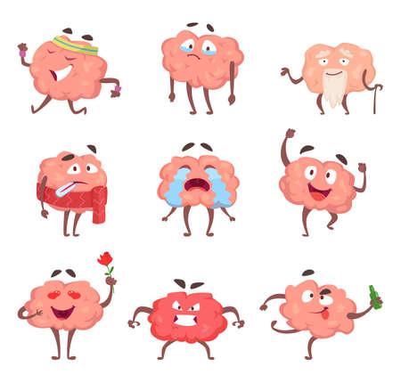 Illustration pour Funny cartoon characters. Brain in action poses - image libre de droit