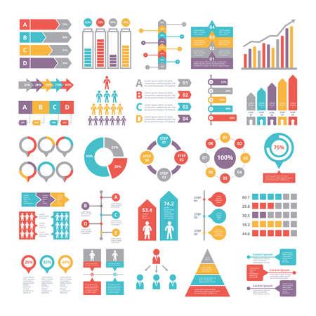 Illustration pour Charts, graphs and other different infographics elements for business - image libre de droit