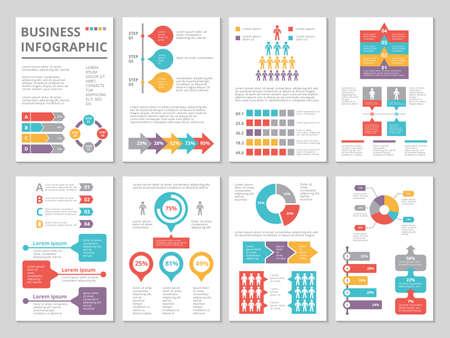 Illustration pour Design project of business annual report with infographic pictures - image libre de droit