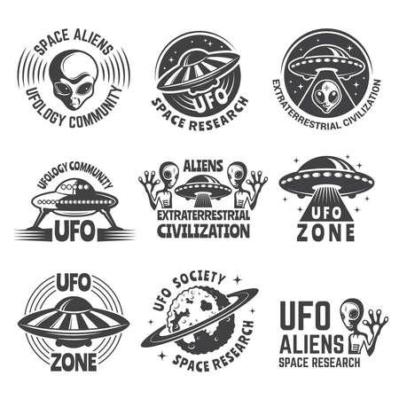 Illustration pour Monochrome labels or badges with pictures of aliens, ufo and space - image libre de droit